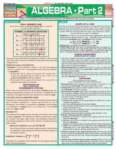 Algebra, Quick Reference Guide By Kizlik, S. B.